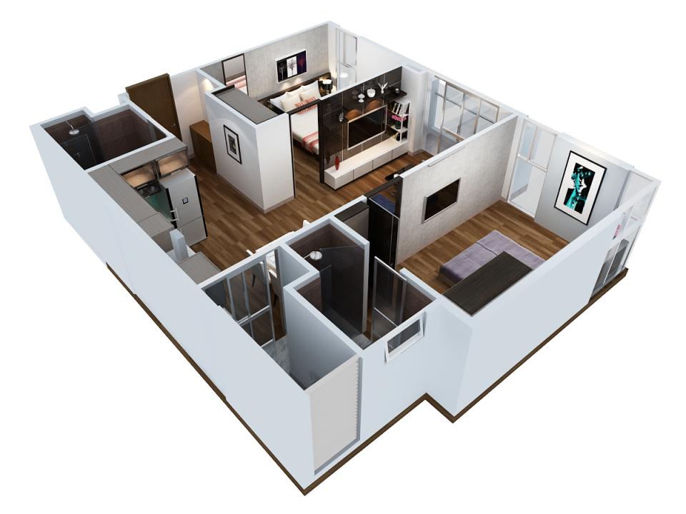 Các kiểu bố trí căn hộ có 2 phòng ngủ