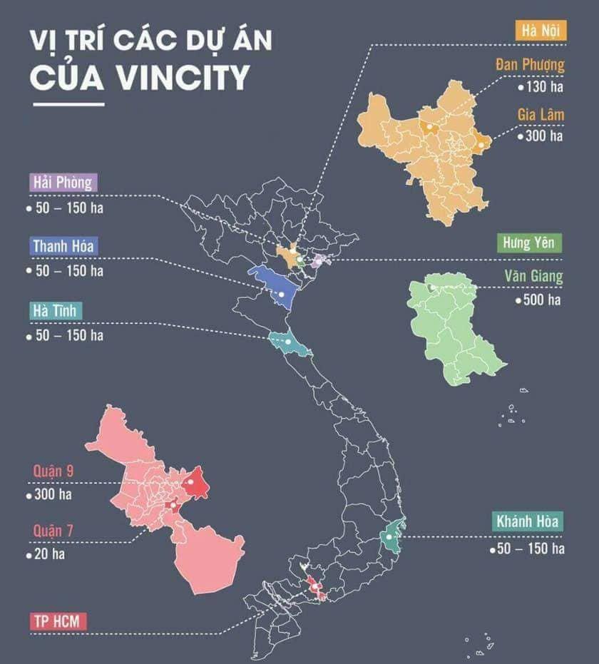 Vị trí dự án Vincity tại 7 tỉnh thành phố