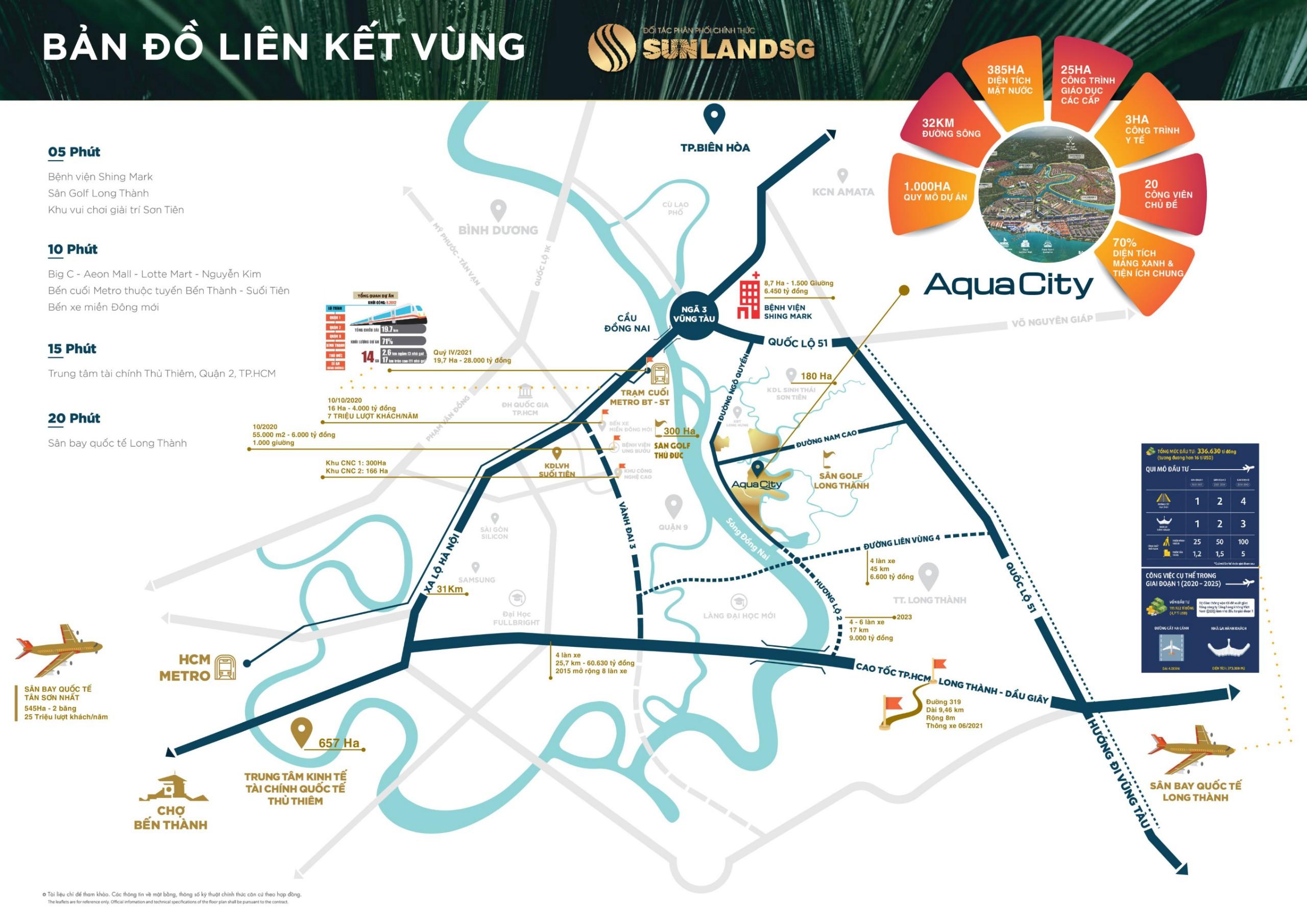 Vị trí Liên kết vùng tiềm năng gia tăng giá trị vượt trội tại Aquacity Đồng Nai