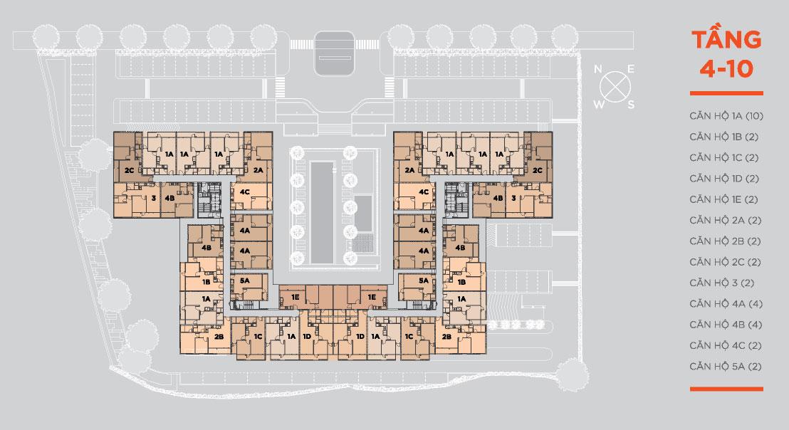 căn hộ hausneo mặt bằng tầng điển hình tầng 4-10