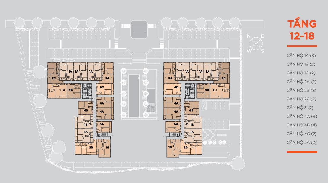 căn hộ hausneo mặt bằng tầng điển hình tầng 12-18