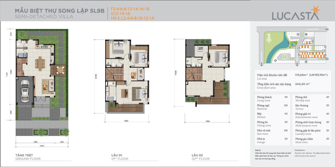 Thiết kế mẫu nhà các căn biệt thự song lập tại Lucasta
