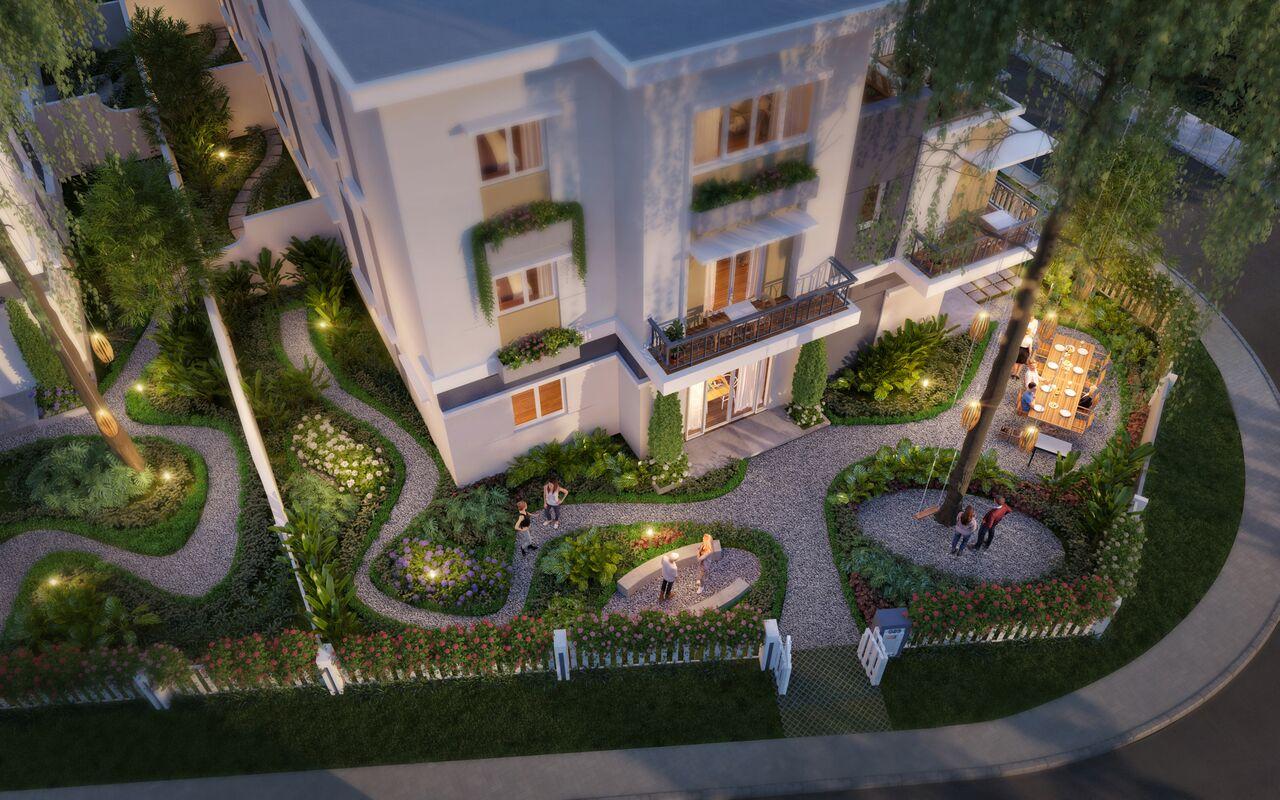 Phối cảnh nhà phố sân vườn dự án Rosita Garden