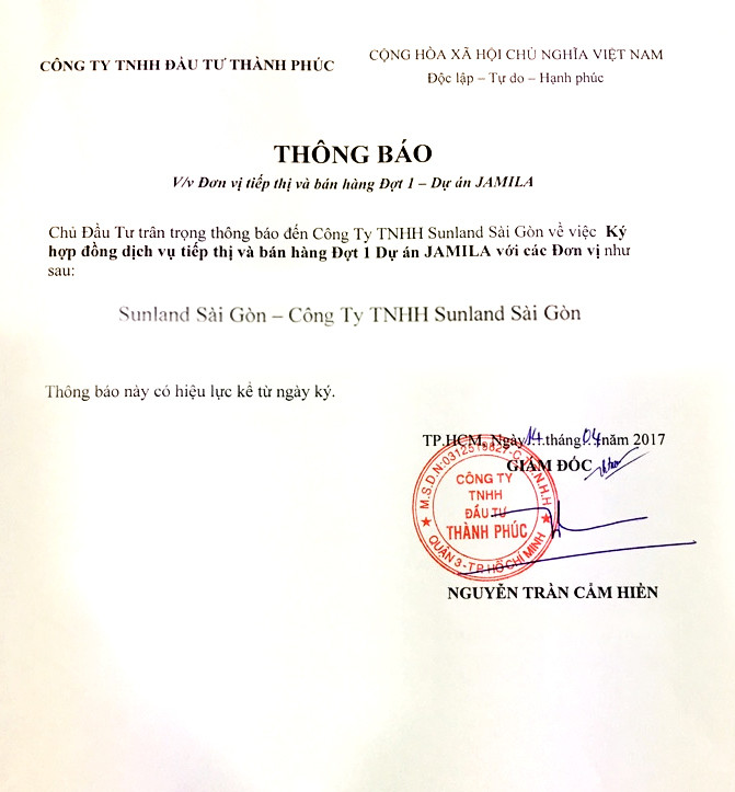 Thông báo chứng nhận SunlandSG là đại lý F1 căn hộ jamila của Khang Điền