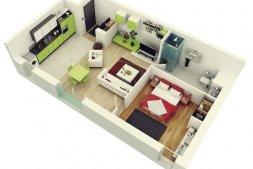 Thiết kế căn hộ Safira 1 phòng ngủ có rộng rãi