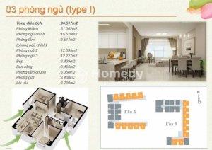 Bán chung cư The Eastern 3 phòng ngủ 97m2- 2.55 tỷ - 0914533366