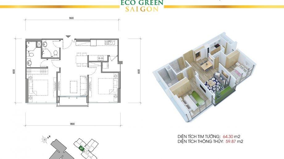 Mẫu 2PN Block A - DT: 64.30 m2
