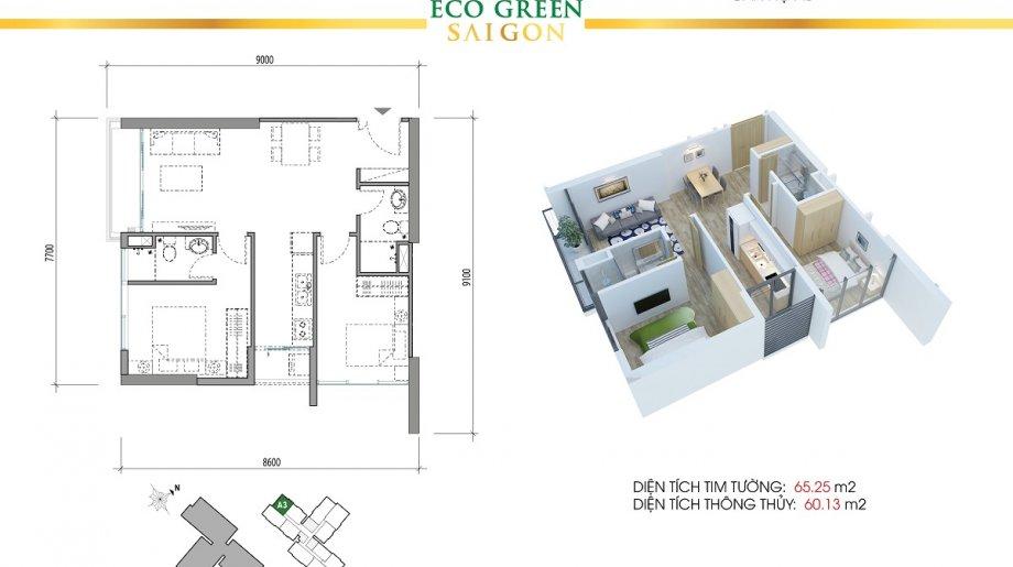 Mẫu 2PN Block A - DT: 65.25 m2