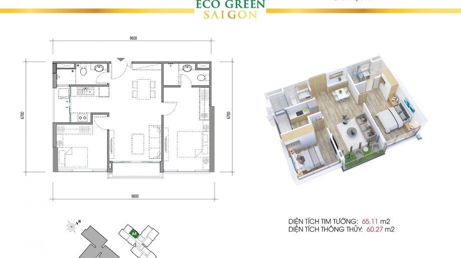 Mẫu 2PN Block A - DT: 65.11 m2