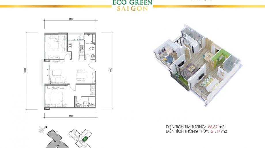Mẫu 2PN Block A - DT: 66.57 m2