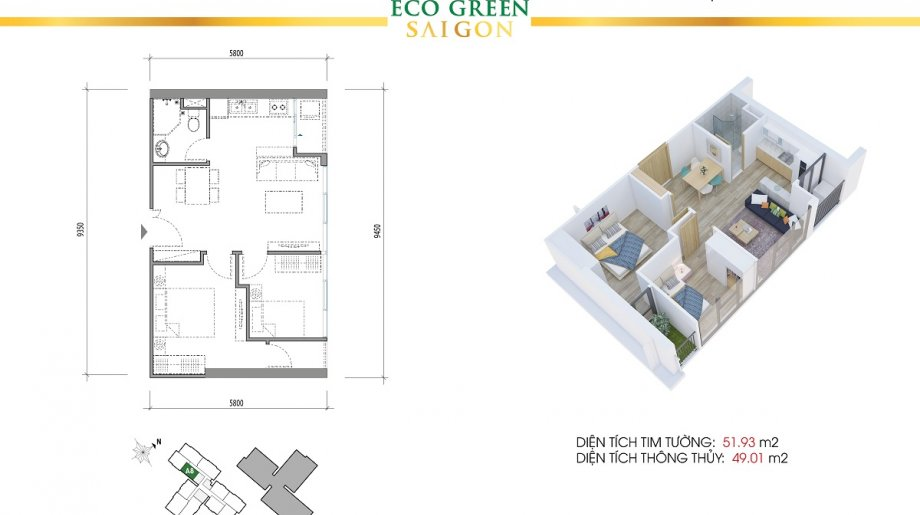 Mẫu 2PN Block A - DT: 51.93 m2