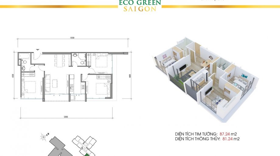 Mẫu 3PN Block A - DT: 87.24 m2