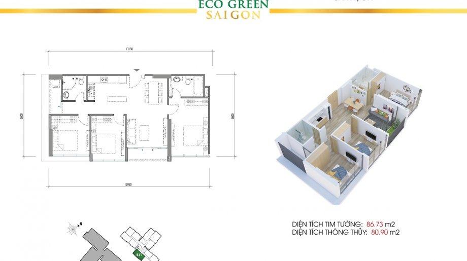 Mẫu 3PN Block A - DT: 86.73 m2
