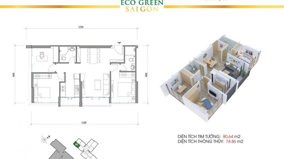 Mẫu 3PN Block A - DT: 80.64 m2