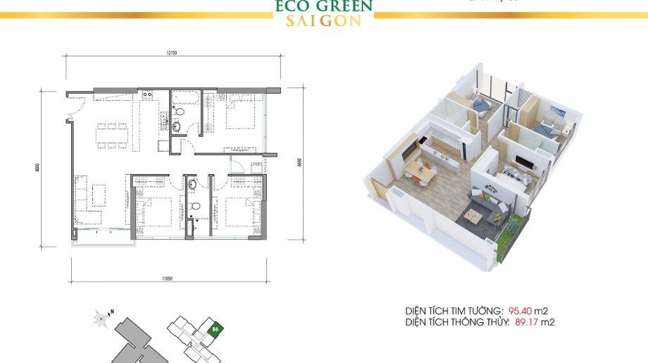 Mẫu 3PN Block A - DT: 95.40 m2