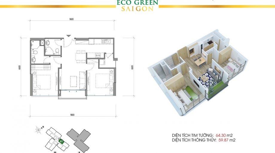 Mẫu 2PN Block B - DT: 64.30 m2