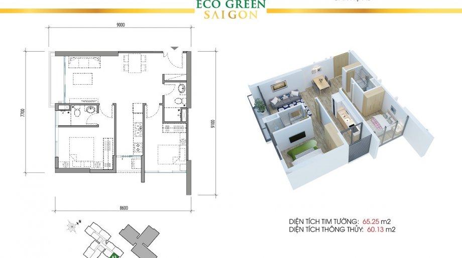Mẫu 2PN Block B - DT: 65.25 m2