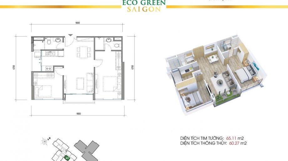 Mẫu 2PN Block B - DT: 65.11 m2