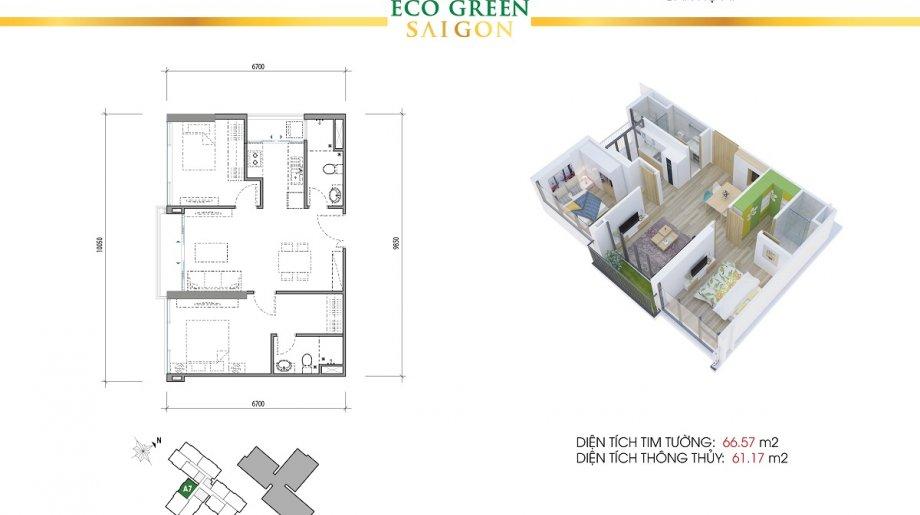 Mẫu 2PN Block B - DT: 66.57 m2