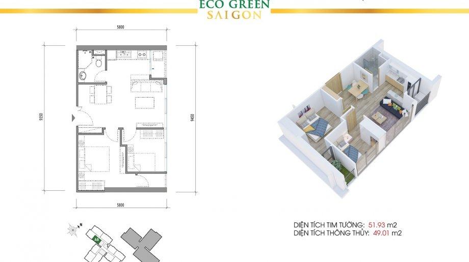 Mẫu 2PN Block B - DT: 51.93 m2