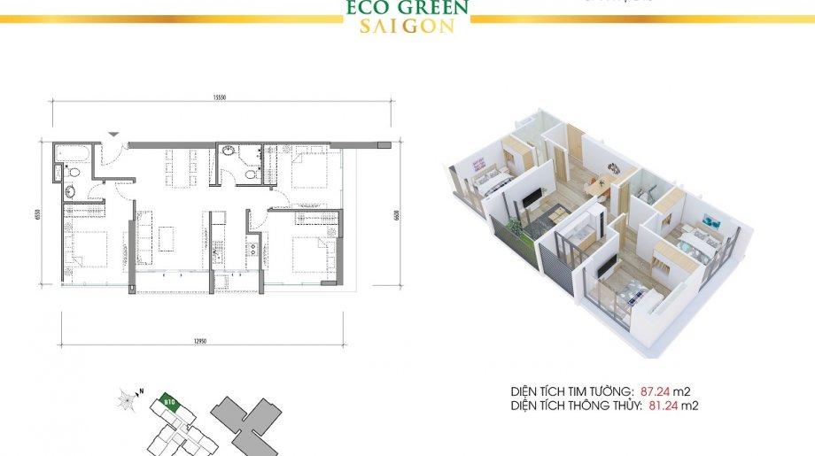 Mẫu 3PN Block B - DT: 87.24 m2