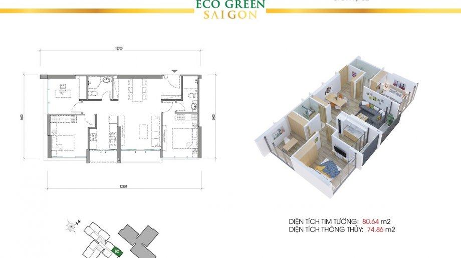 Mẫu 3PN Block B - DT: 80.64 m2