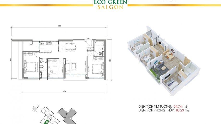 Mẫu 3PN Block B - DT: 94.74 m2