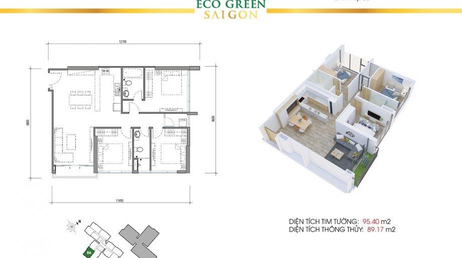 Mẫu 3PN Block B - DT: 95.40 m2